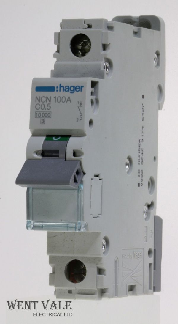 Hager - NCN100 - 0.5a Type C Single Pole MCB Unused